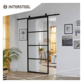 DIY-schuifdeur Cubo zwart incl. transparant glas 2150x980x28mm + zwart ophangsysteem Basic Top